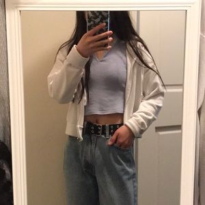 Perfect Condition Cropped White Zip Up Hoodie
